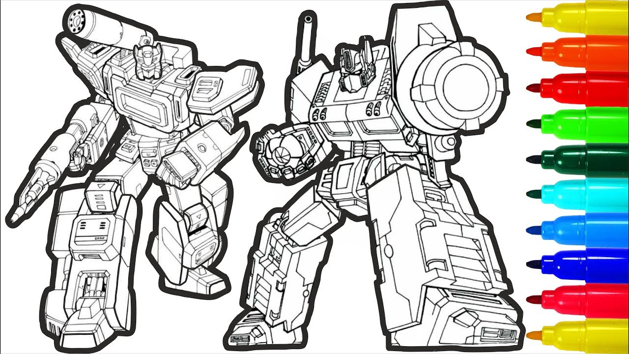 Transformers Coloring Pages With Colored Markers For Young