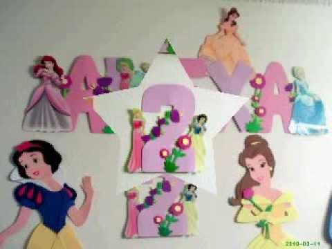 Decoraciones de las princesas de foami youtube for Decoracion de princesas
