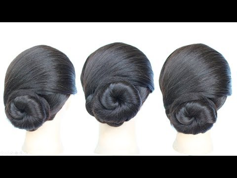 Very Easy Low Chignon Bun Hairstyle 2018