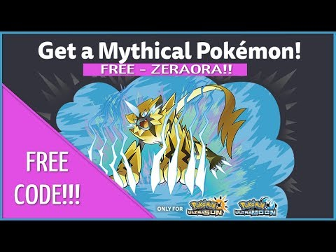 FREE Mythical Pokémon Ultra Sun and Moon Codes - ZERAORA - Good Till