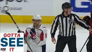 GOTTA SEE IT: Alex Ovechkin Takes Blatant Slashing Call Then Gets Ejected For Taunting Official