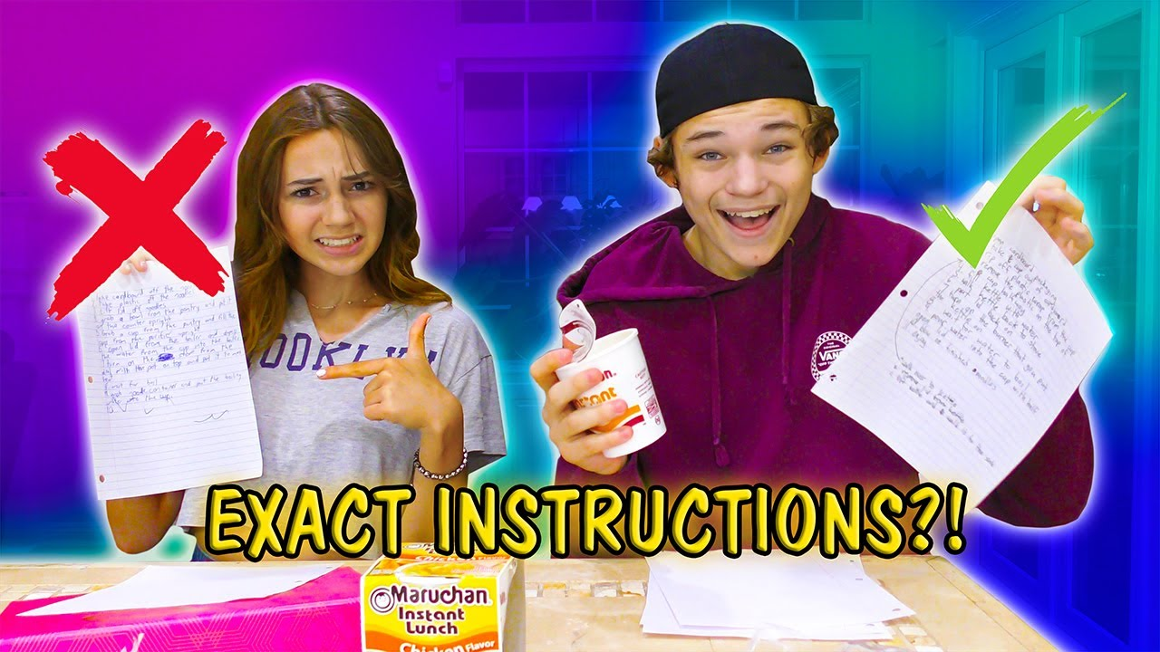 CUP OF NOODLES EXACT INSTRUCTIONS CHALLENGE   We Are The Davises
