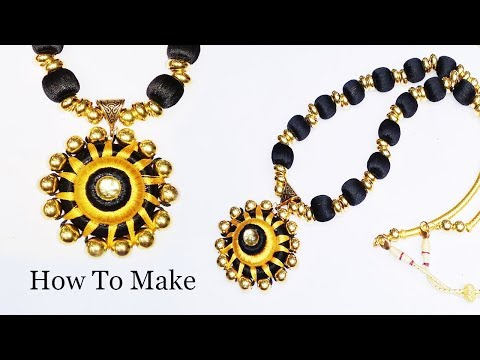 Silk thread beads necklace making, Easy Tutorial simple Diy, braid necklace, party ware nacklace
