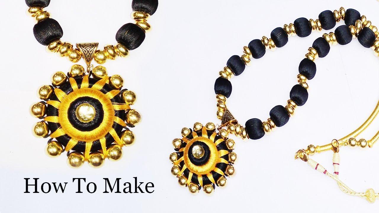 Silk thread beads necklace making, Easy Tutorial simple Diy, braid ...