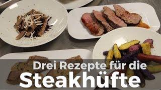 Wie bereitet man Steakhüfte zu? Drei Rezepte mit Beilagen