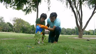 Indian father and son watering a plant while gardening in a park - save environment concept