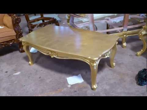 Antique Gold Leaf Carving Coffee Table - VIXIDesign.com
