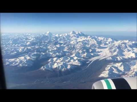 Flying by Mt. Denali - Alaska Airlines Fairbanks to Anchorage, AK