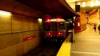 MBTA Red Line trains at Harvard Square