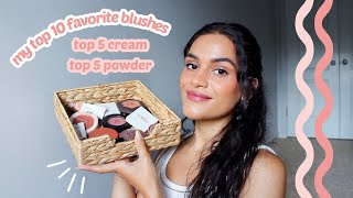 my top 10 fav blushes // 5 cream blushes + 5 powder blushes