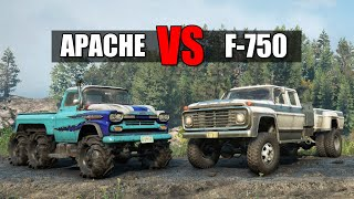 Snowrunner Chevrolet Apache vs Ford F-750 (New Engine) | Is Chevy worth it