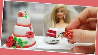 Barbie red velvet mini WEDDING cake with mini sugar roses/real mini cake/jenny's mini cooking/DIY
