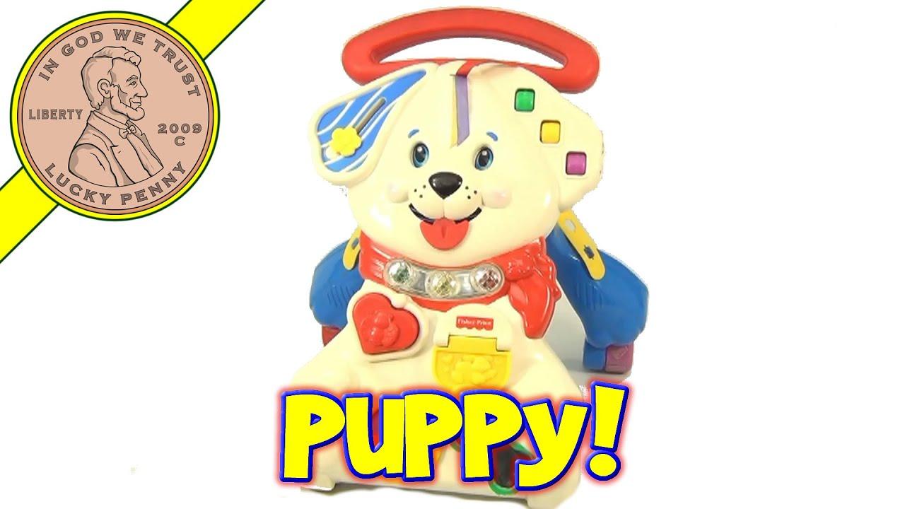 Vintage Fisher Price 123 Sing Along Puppy Dog Push Walker Baby