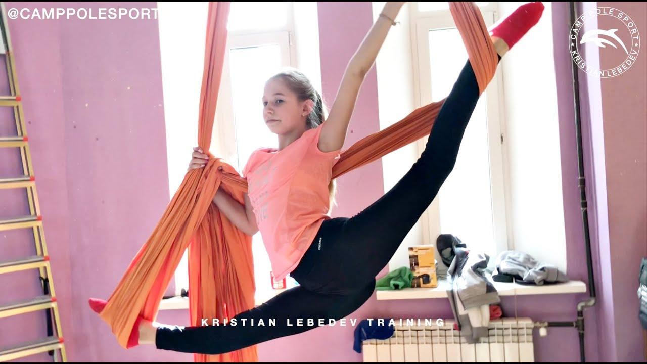 Тренировка воздушная гимнастика дети средний уровень | Aerial silks kids Russian training