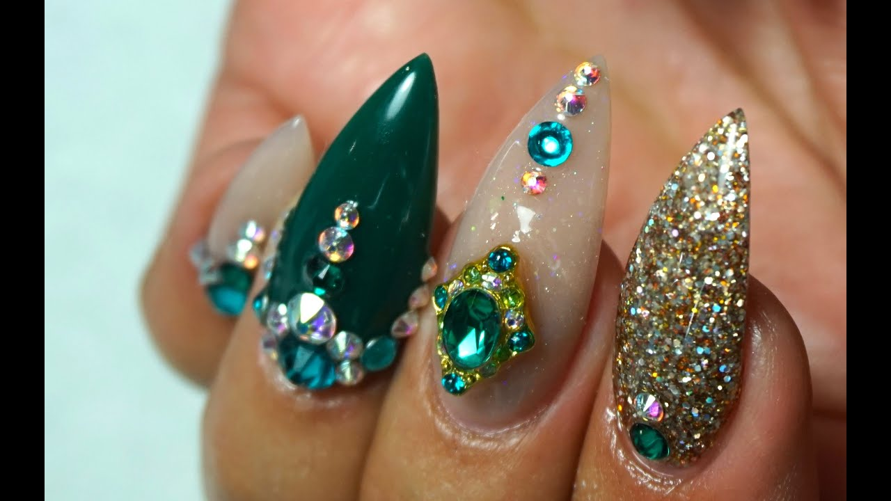 Watch me work! Green & nude colored acrylic nails on me - YouTube