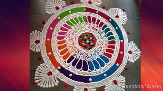 Multi colour sanskar Bharti Rangoli design