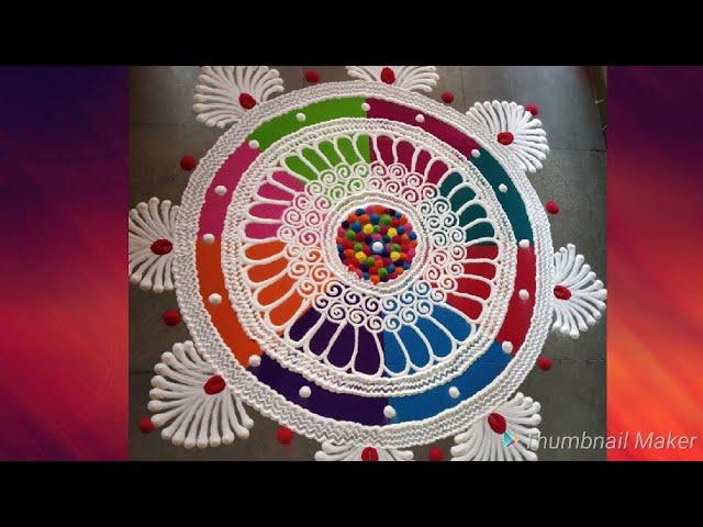 Multi colour sanskar Bharti Rangoli design