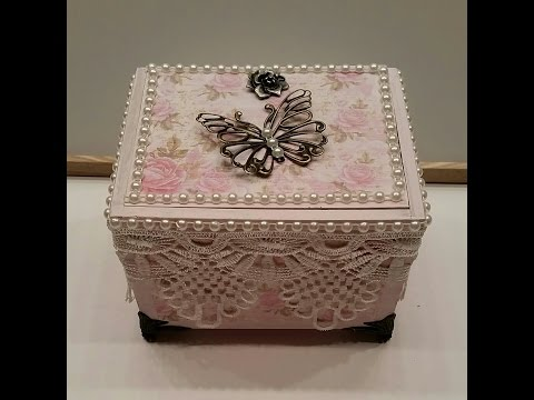 Elegant Shabby Chic Altered Cigar Box - Jewelry Box