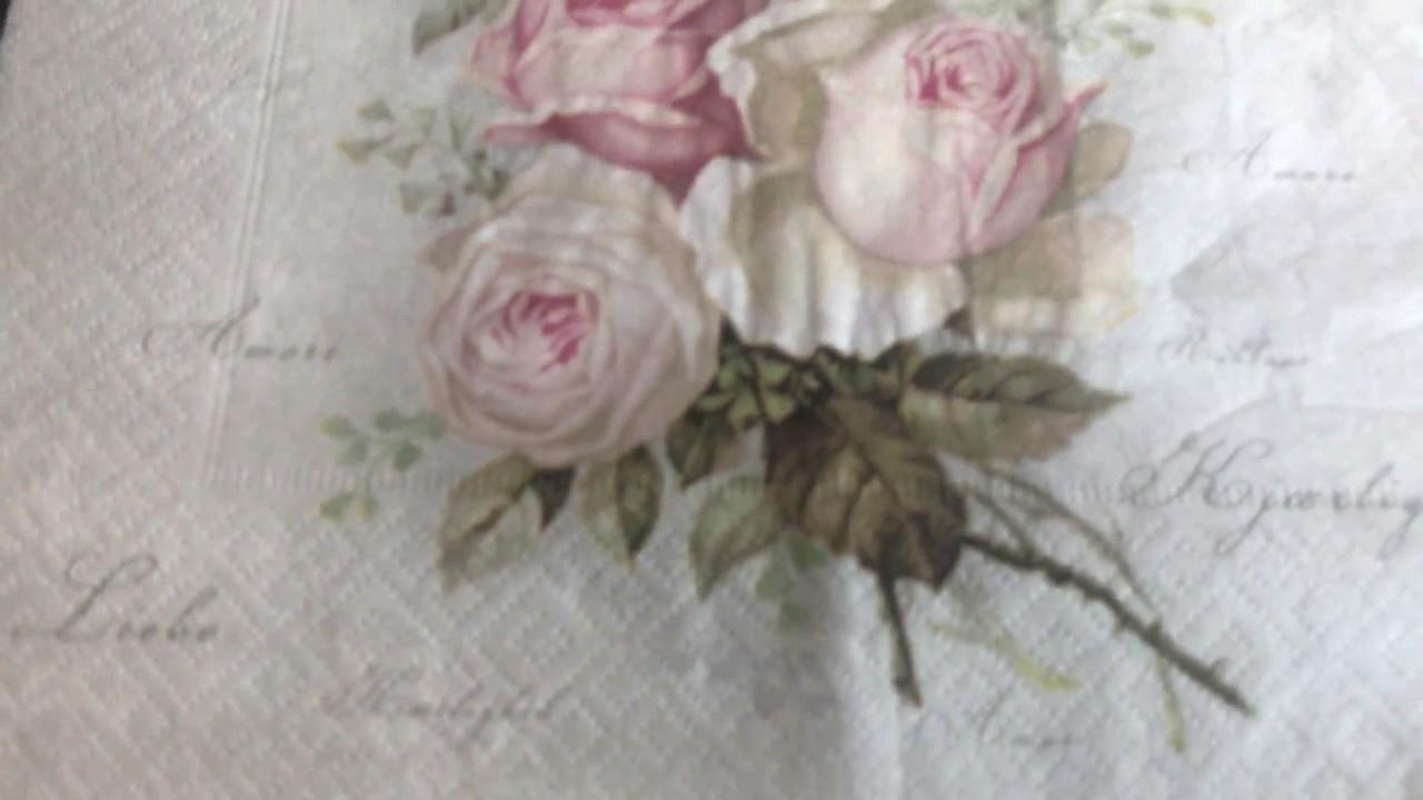 Vintage Pink Romantic Roses Paper Napkin - YouTube