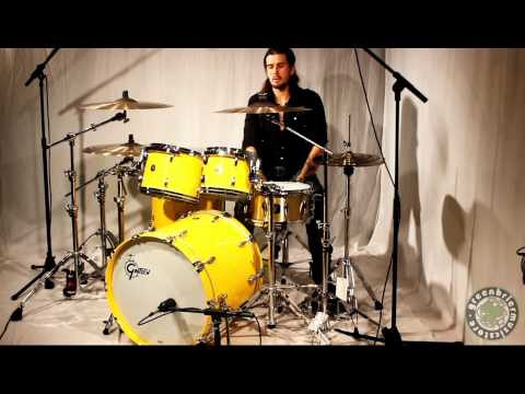 Gretsch USA Custom 4pc Yellow Lacquer with Sabian Custom Shops Cymbals including The Greenbrier Ride