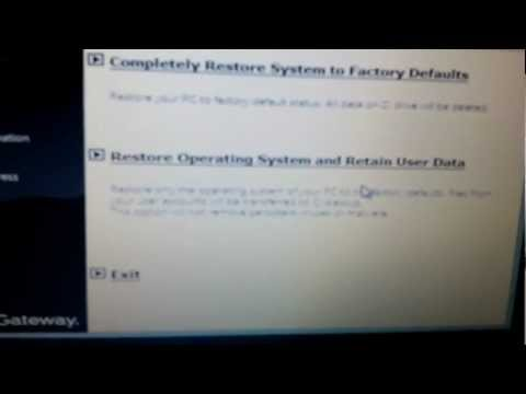 How To Restore Gateway Nv Series Laptop Back To Factory Defaults