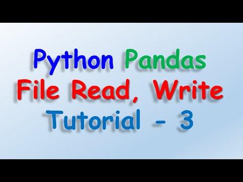 Data analysis with python and Pandas - File Read, Write