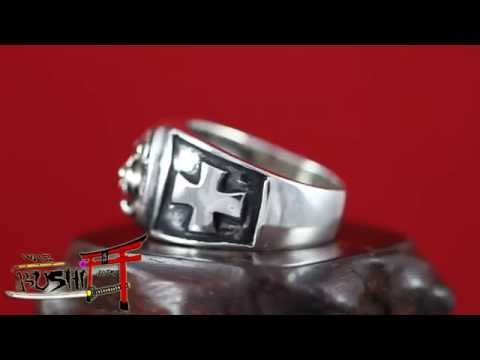 "925 Sterling Silver Antique Masonic Ring ""Knights Templar Lion Head and Iron Cross"""