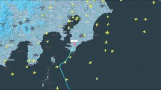 外遊から帰国し羽田に着陸する政府専用機をフライトレーダーで追跡して...