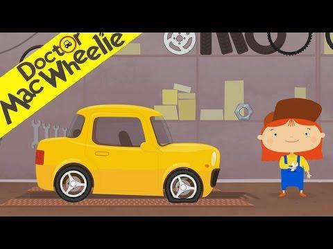 Voiture Jaune - Réparation de la voiture jaune dans le garage Dr McWheelie