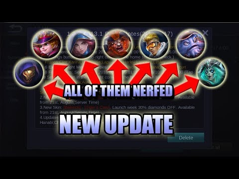 NEW UPDATE - LOTS OF NERF - PATCH NOTES MOBILE LEGENDS NEWS