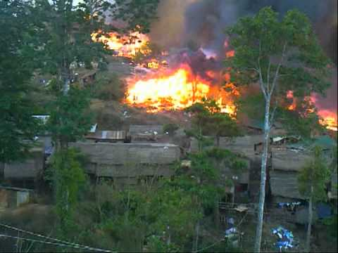 Umpium Refugee Camp in fire   23 02 2012
