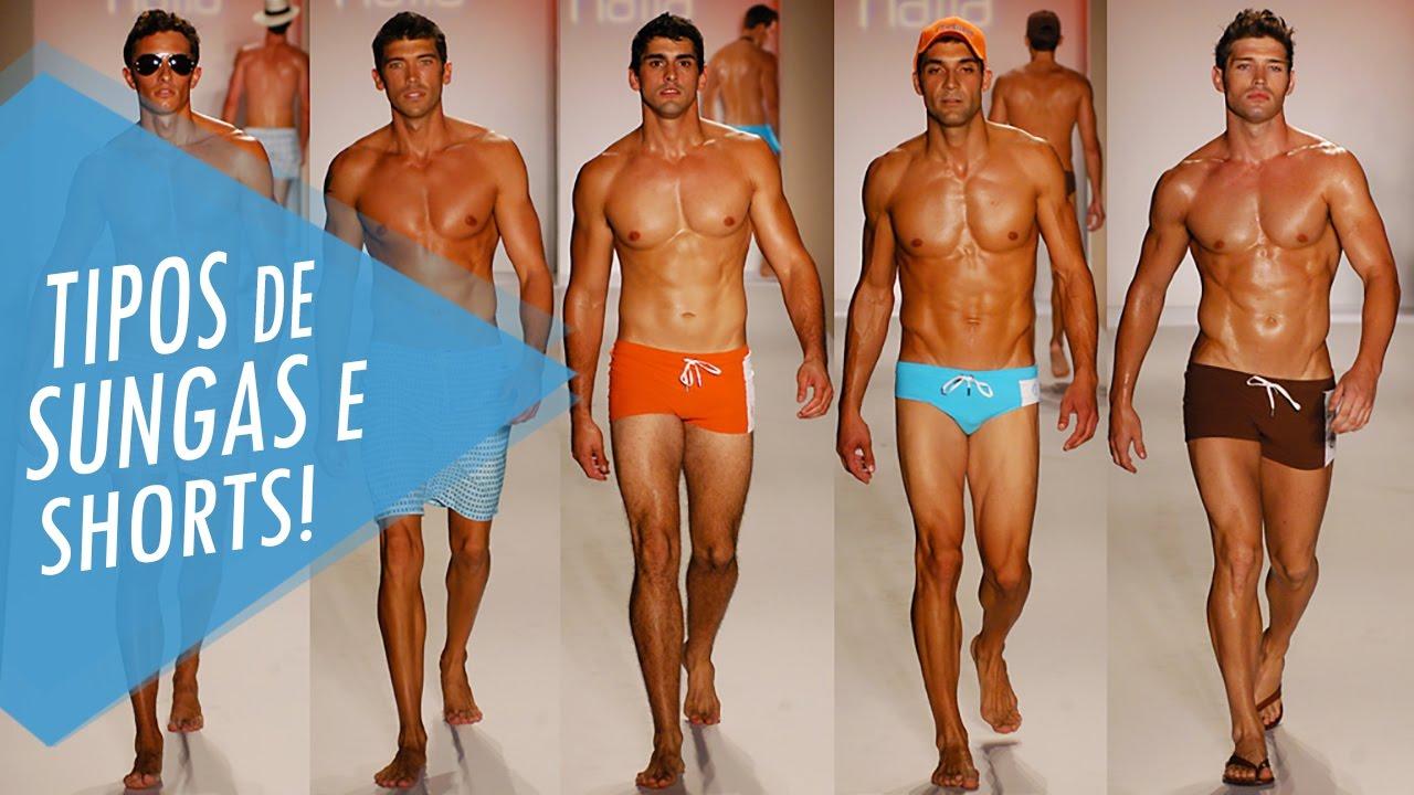 Moda Praia Masculina  Tipos de sungas e shorts - YouTube 3b75661f1cd