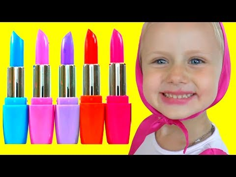 Thumbnail: Colors for Children to Learn with Masha Wrong Makeup Lipstick Nursery Rhyme Learn Colors for kids