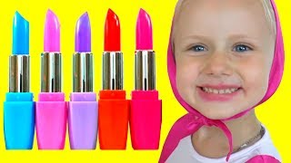 Colors for Children to Learn with Masha Wrong Makeup Lipstick Nursery Rhyme Learn Colors for kids