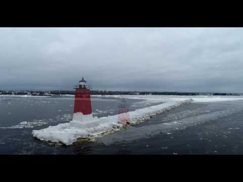 Manistique Lighthouse in Winter with Drone