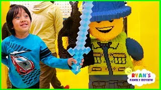 Toy Hunt Shopping at Giant Lego Store and eating yummy food with Ryan's Family Review