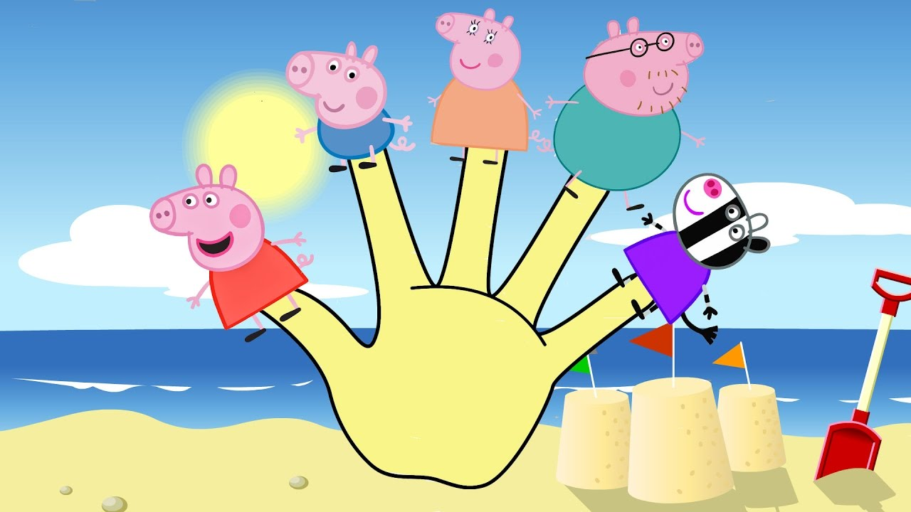 peppa pig finger family coloring pages for kids youtube