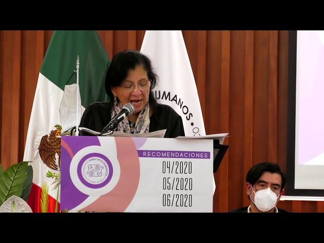 Discurso de la Presidenta de CDHCM en la presentación de Recomendaciones 04/2020, 05/2020 y 06/2020