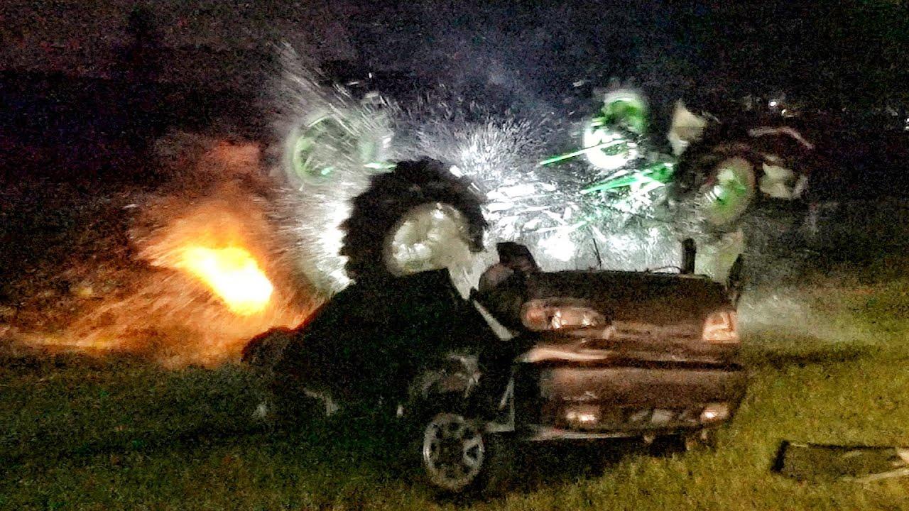 Monster Truck Flips Upside Down into Pond...