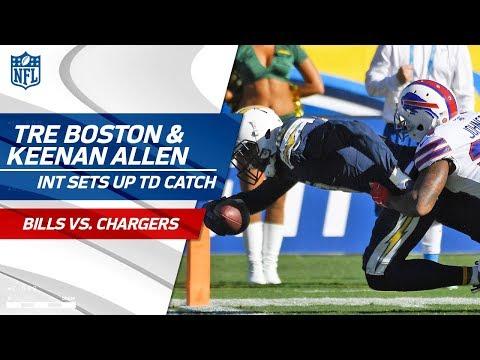 Tre Boston's INT Sets Up Keenan Allen's Big TD Catch!   Bills vs. Chargers   NFL Wk 11 Highlights