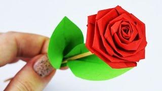 как сделать красную розу видео из бумаги