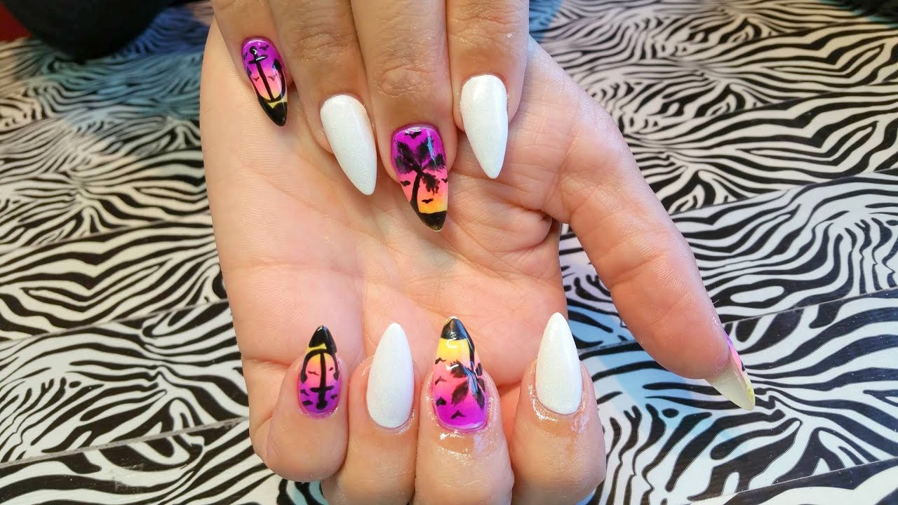 Acrylic infill l sunset holiday l nail design youtube prinsesfo Images