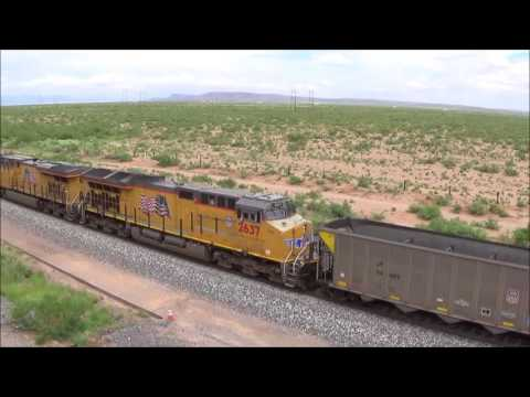 Union Pacific Trains near Deming NM and El Paso TX 7 20 2017