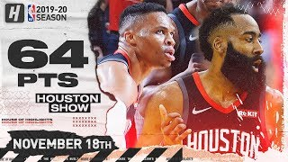 Russell Westbrook Triple-Double & James Harden CRAZY Highlights vs Trail Blazers 2019.11.18 - 64 Pts