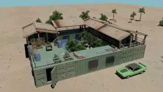 mini compound shipping container house pool