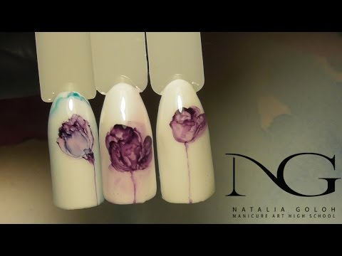 Дизайн ногтей цветы: тюльпаны, сакура, маки