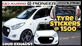 Hyundai i10 Modified》Cheapest Tyre Stickers》Modified Cars》Car Exhaust》Dual Subwoofer Setup》Team RMS