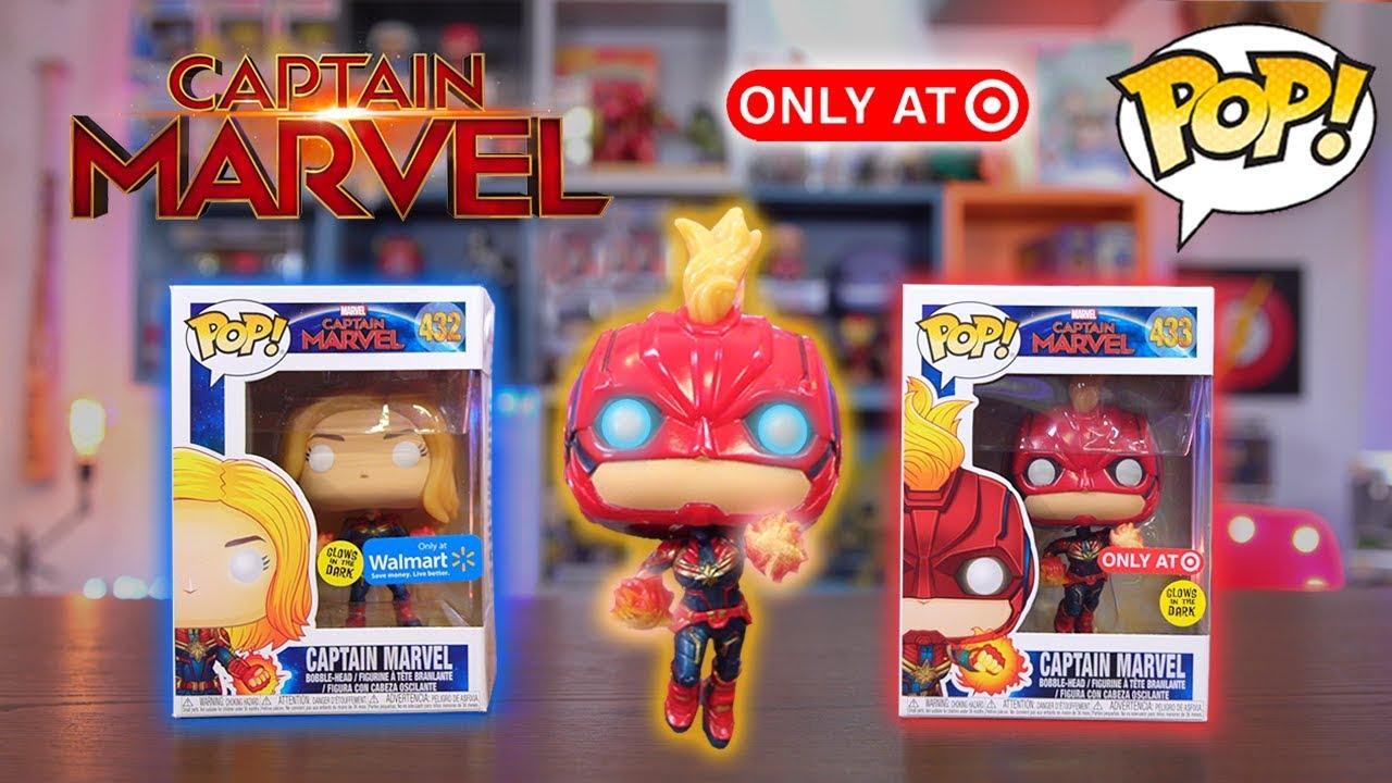 Captain Marvel Funko Pop Target Walmart Glow Exclusive Review
