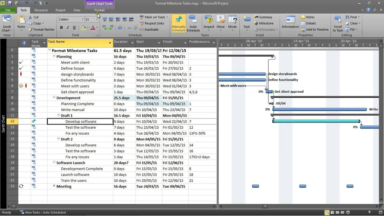 Format all milestone tasks in gantt chart table youtube for Table 6 4 cobol conversion project schedule