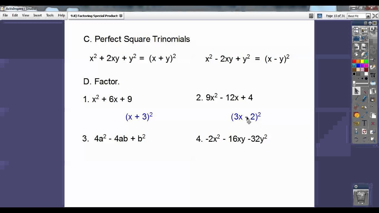 Factoring Special Products Section 98 YouTube – Factoring Special Products Worksheet